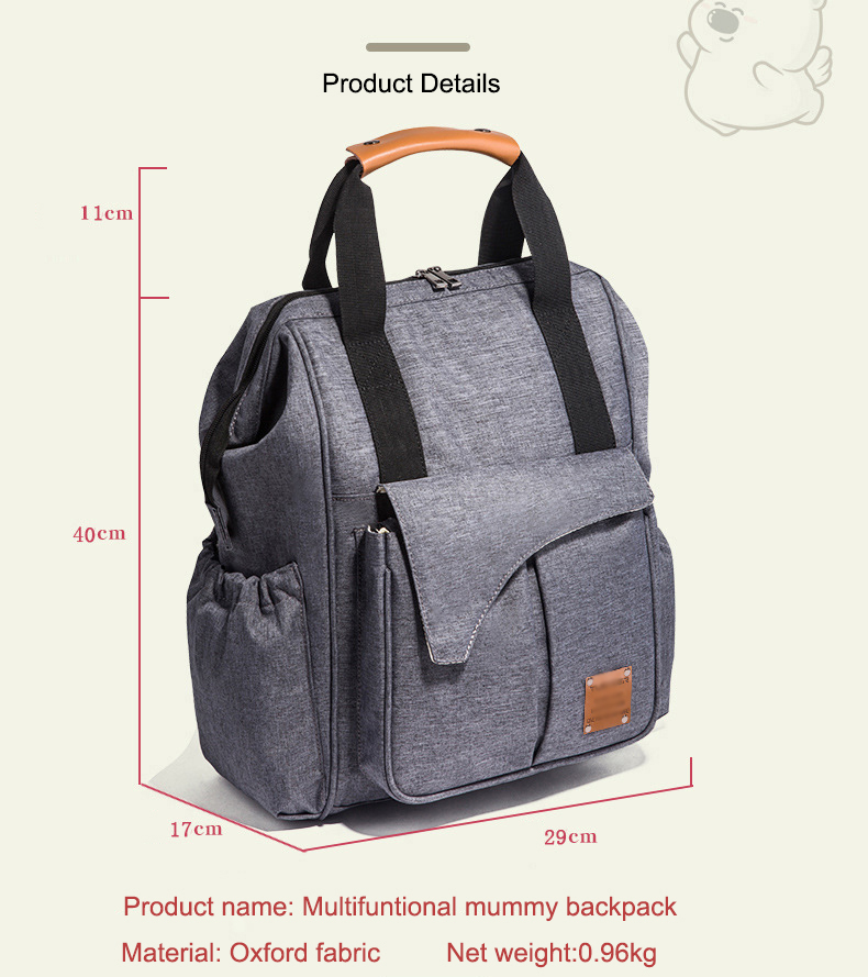 New arrival multifunctionable baby diaper backpack waterproof mummy bag hot selling nappy bag