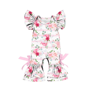 2L-LY-188 Summer Flower Toddler Kids Baby Girl Clothes Romper Stripe Floral Print Short Sleeve Ruffles Rompers Jumpsuit Playsuit