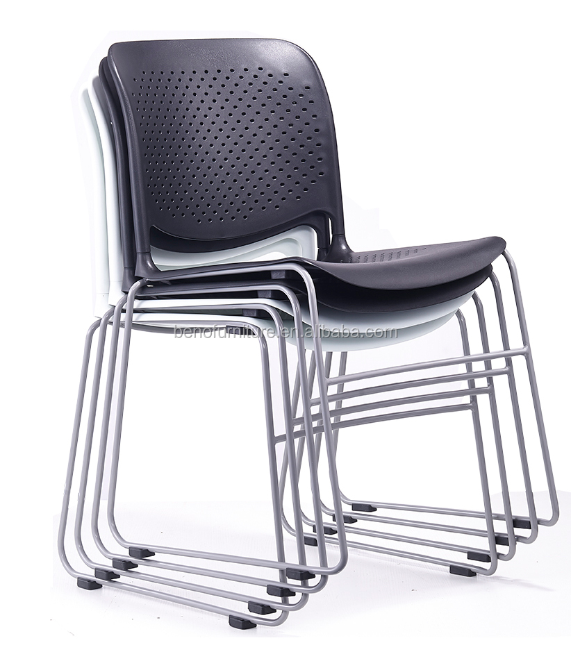 Modern White black Metal leg plastic stacking office chairs no arms