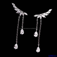 Pave Diamonds Silver Angel Wings Tassel Crystal Waterdrop Earrings
