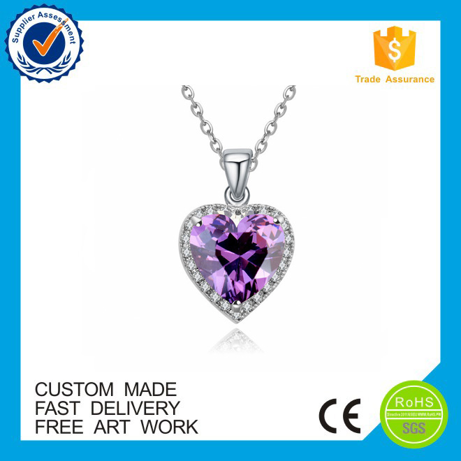New styles! engraved round custom metal purple pendants
