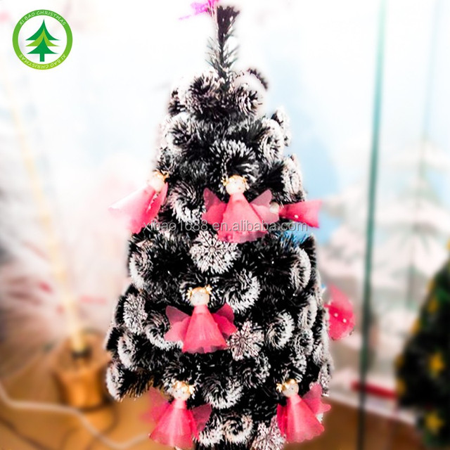 Pink Angel Ornaments PVC Fiber Optic Christmas Tree With Led Lights