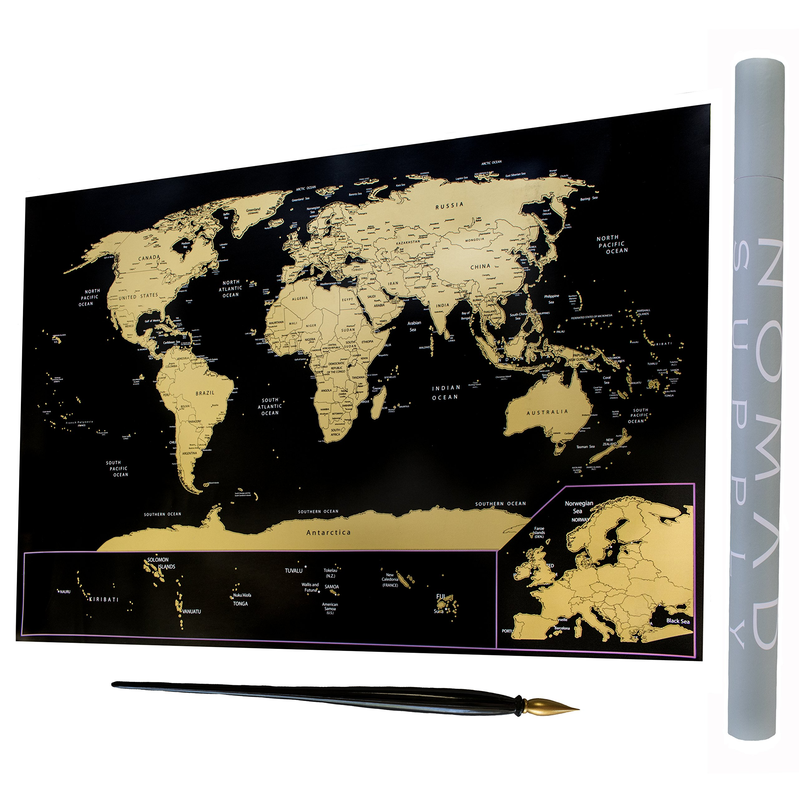 Landmass Scratch Off Map - Travel Map With Enlarged European Countries - Foiling Pen Included - Detailed World Map with Black and Gold Design - Vibrant Colors Underneath - 24x36in Poster of the World,