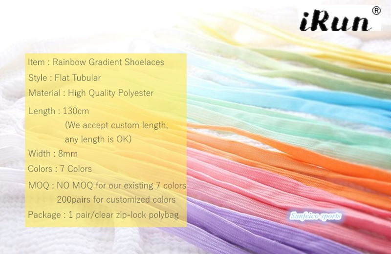 6dc7c75d4f3bb5 Fat Flat Rainbow Gradient Shoe Laces~Rainbow Color Tie Dye Laces~Amazon eBay