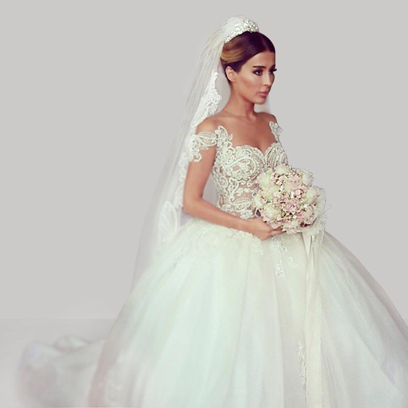 Romantic Vestido De Noiva Fashion White Ball Gown