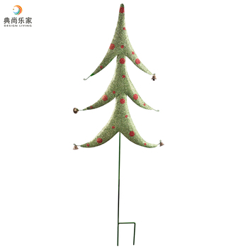 glittering green metal christmas tree decorations outdoor garden yard h stake - Metal Christmas Decorations Outdoor