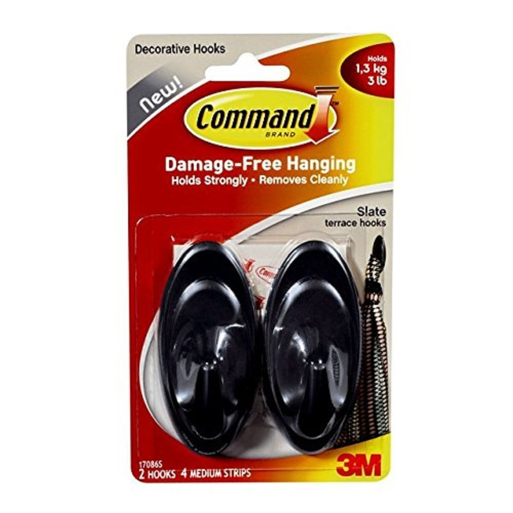 Command 17086SES, Medium, Slate Terrace Hook Holds 1.3 Kg.(3 lb) Grey Black 2 hooks, 4 strips
