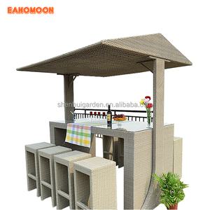 China Wholesale Economical Beige PE Rattan Outdoor with Tent Modern 8 seaters Bar Chair And Table