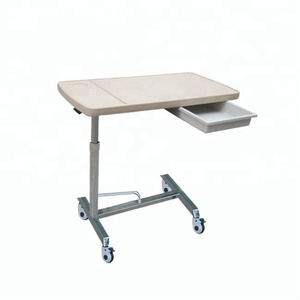 B-52 Movable hospital overbed dining bed table with drawer