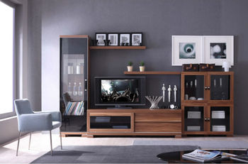 2014 modern living room furniture tv wall unit design was made from