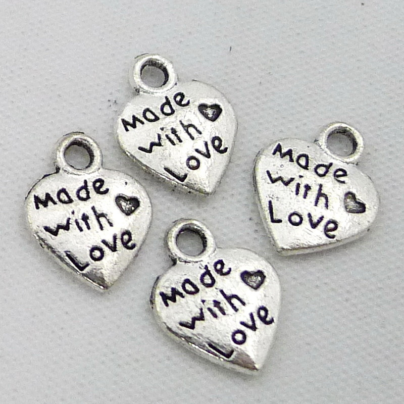 made with love heart pendant <strong>charm</strong> A0264
