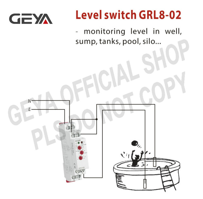 GEYA GRL8-02 Water Level Controller Switch with Water Level Sensor 10A Level Control Relay AC/DC24-240V