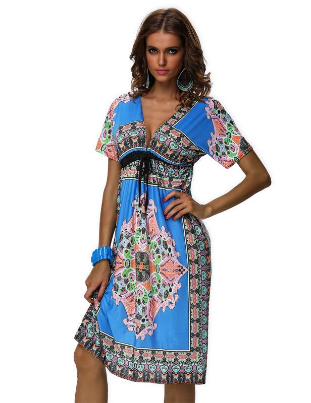 LA18037 Cheap Price Hippie Boho Club Dress Knee Length ...