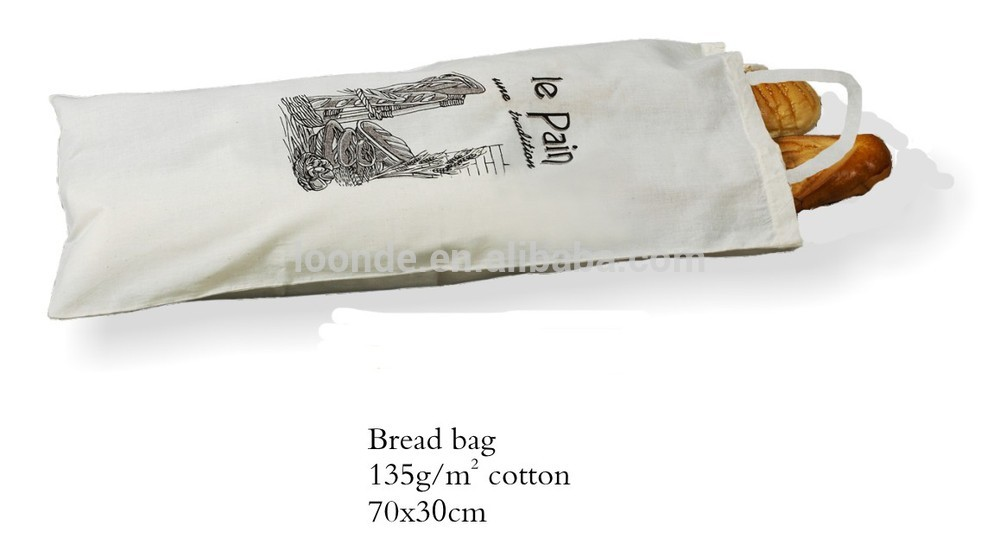 High end cotton fabric reusable bread bag with drawstring