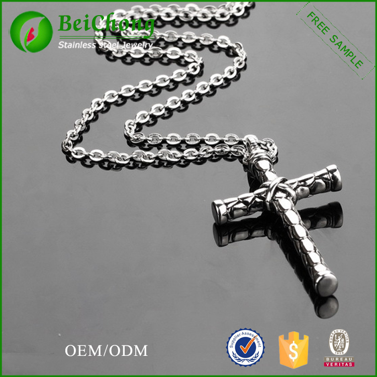 Unique Cylindrical Cross Pendant Stainless Steel Baseball