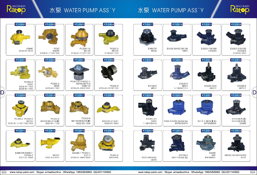 DH225-7 DB58 WATER PUMP FOR EXCAVATOR