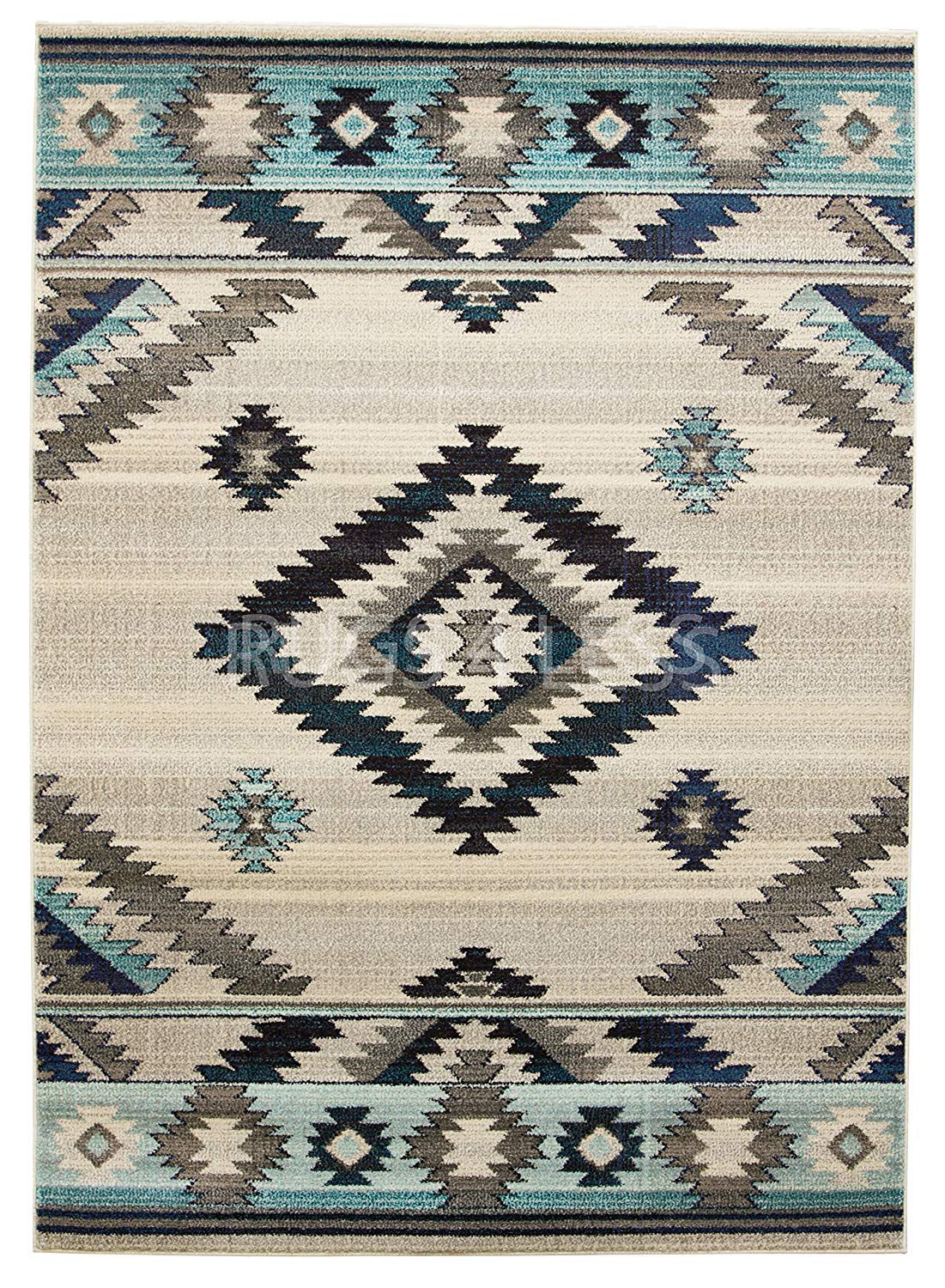 Get Quotations Rugs 4 Less Collection Southwest Native American Indian Area Rug Design R4l 1033 Bone Gray Turquoise