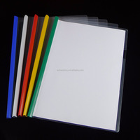 Good quality cheap custom stationery A4 clear PP plastic report cover folders slide binder sliding bar files
