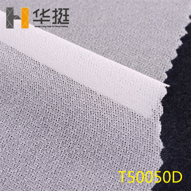 45g100% polyester woven interlining 50D four sides elastic, strong adhesion, 4 upper and lower left and right pull back resilien