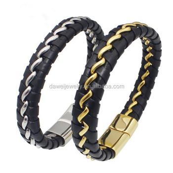 38ef401feb05 Moda moderna hebilla magnética brazaletes pulsera trenzada Titanium  masculino hombres pulseras de cuero y pulseras