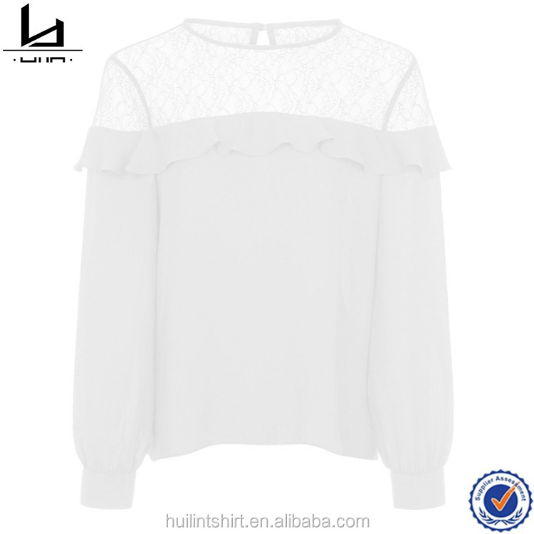 0d98a1eaf32 Tops for women 2017 white lace top panel frill trim long sleeve ladies tops  latest design