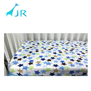 Organic Cotton High Quality Knitted Jersey Infant Baby Crib Sheets Printed