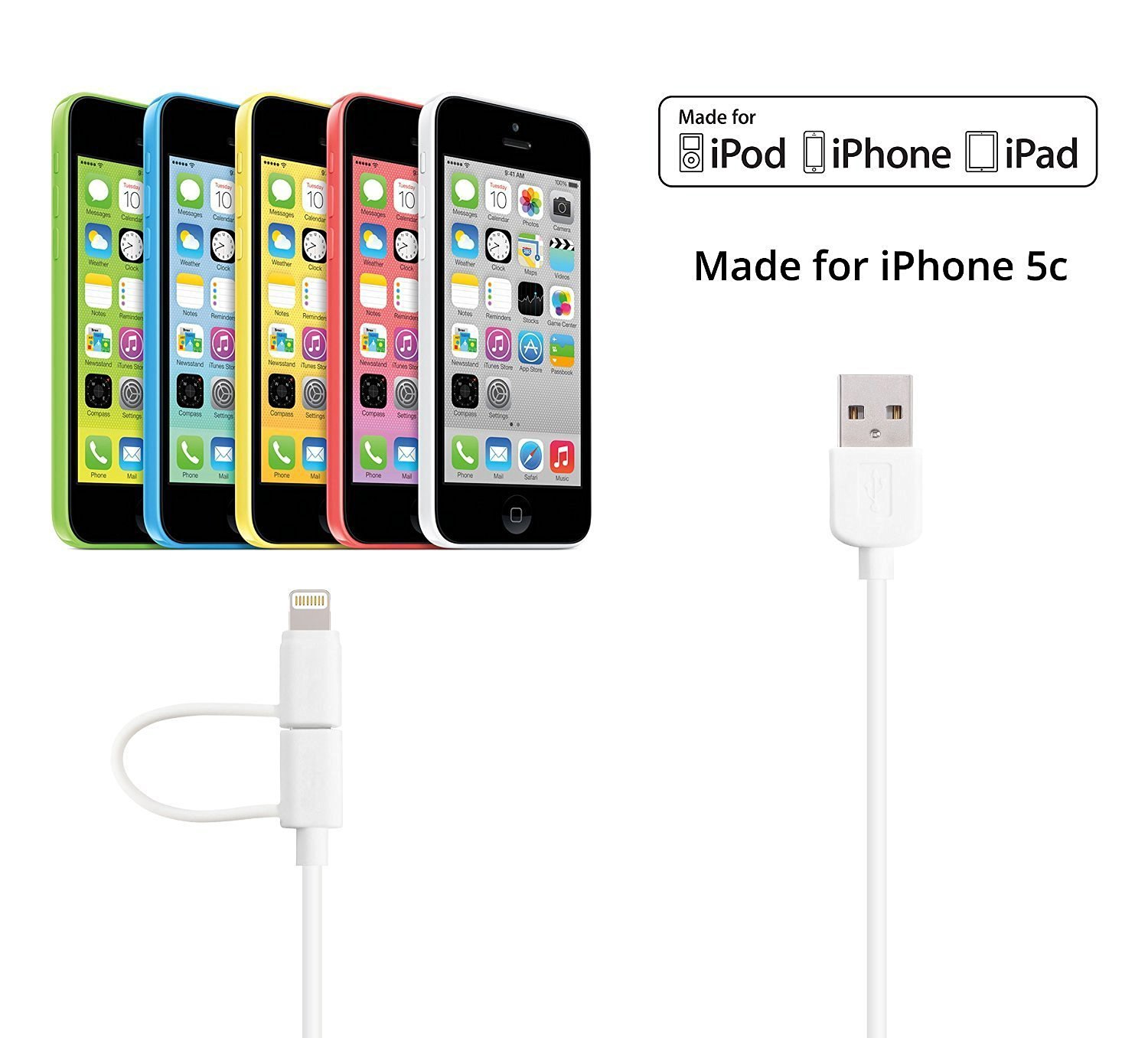 JITS Iphone Charge [Apple MFi Certified] 8 Pin Lightning Cable for IPhone,iPad Serice [ 1 Meters] (White [2 in 1])