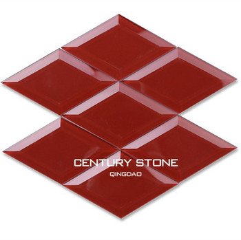 Diamond Shaped Beveled Red Glass Mosaic Wall Tiles For Kitchen - Buy Red  Mosaic Wall Tiles,Red Glass Mosaic Tile,Red Kitchen Tile Product on ...