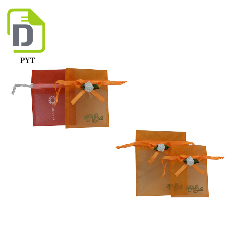 Good quality Satin ribbon gift small orange organza ring bag for wedding favor