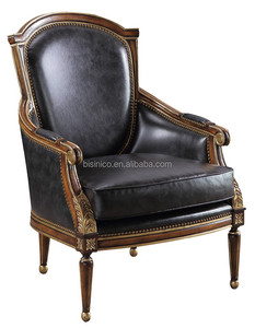 European style solid wood hand carved living room leisure leather armchair
