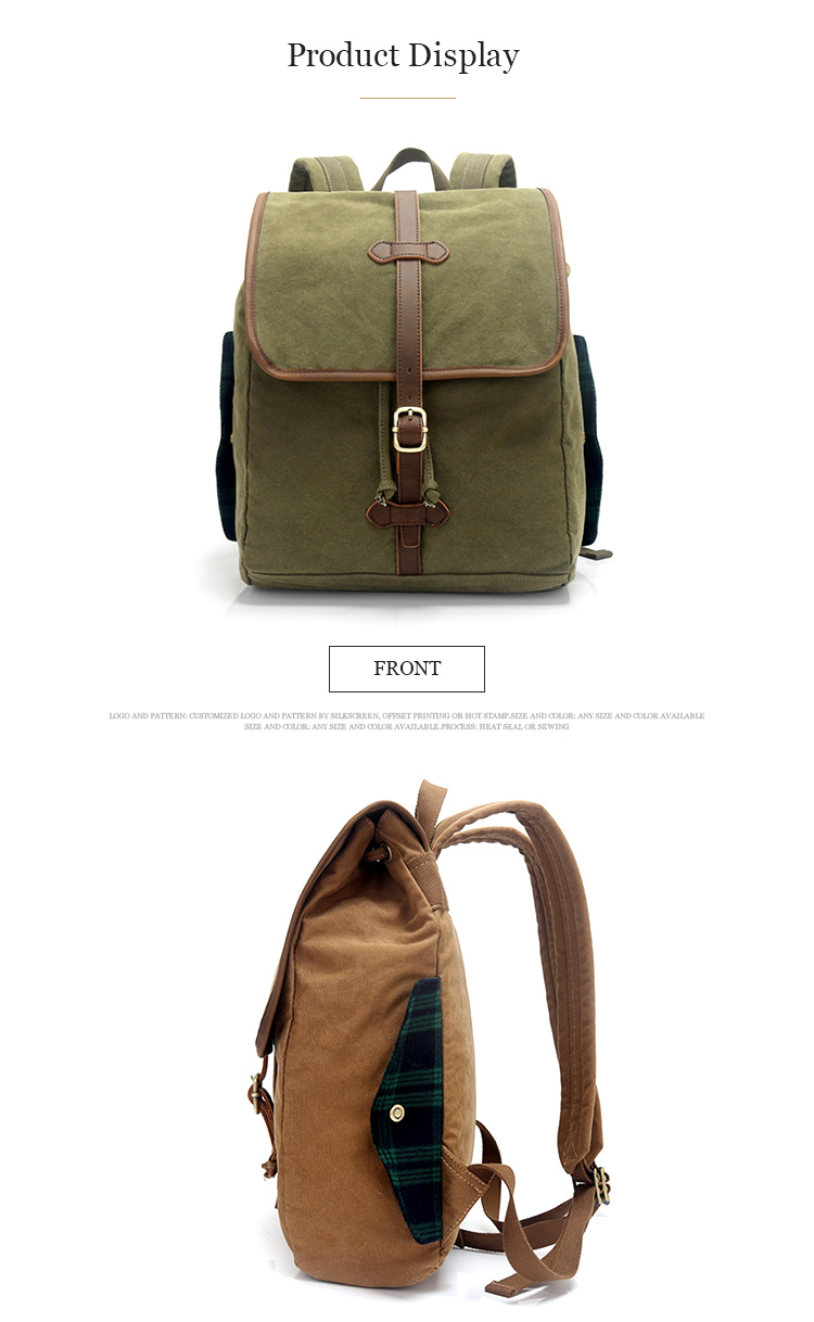 2019 Hot selling wholesale durable bag fashionable new style waxed canvas daily vintage backpack