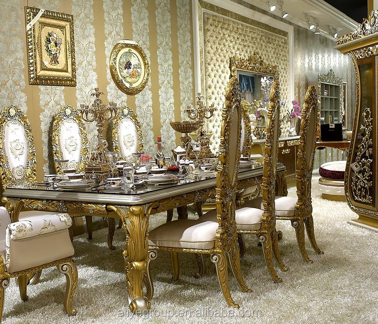 aa33 fancy dining table with chairs for 8 people european classic golden carving dining - Fancy Dining Room