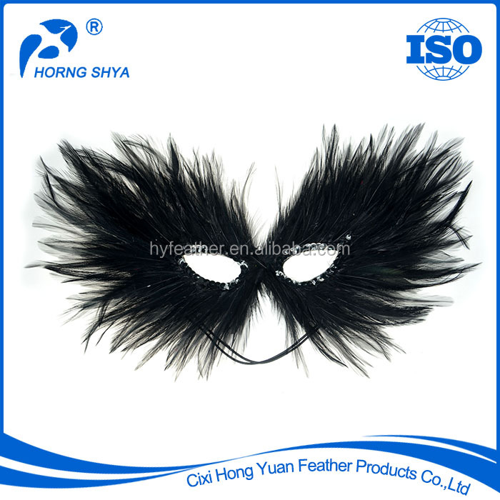 Manufacturer CM-385 OEM ISO Approved Black Red Or Pink Rooster Feather Party Mask Cheap Halloween Mask