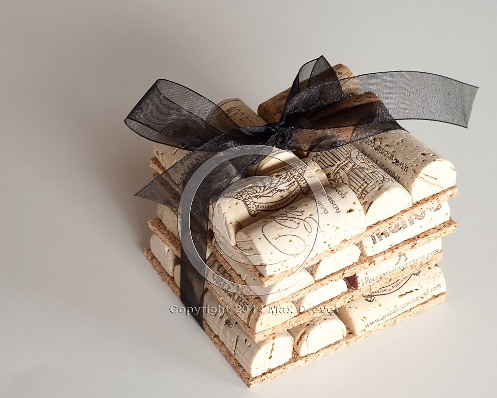 Wine Cork Coasters Set of 4 Wine Cork Crafts, Wedding Favors, Rustic Wedding Decor, Wine Themed Wedding