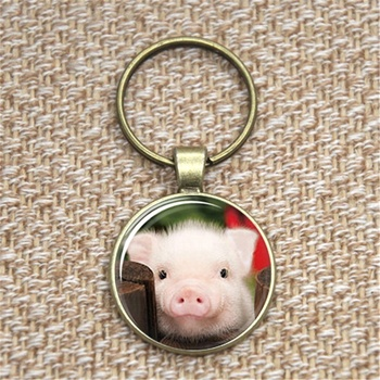 piglet Keychain little piggy pet Spirit animal gift sacred glass Photo Cabochon Keychain