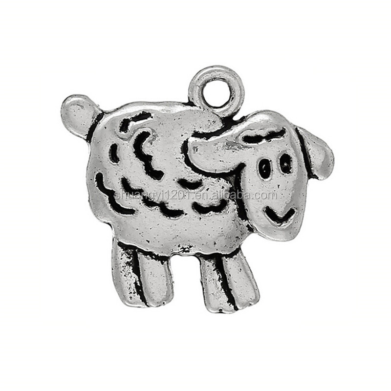 Alibaba cheap antique silver sheep lamb charms pendant jewelry