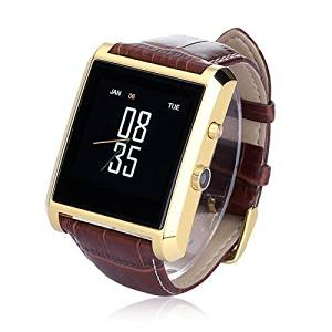 "Megadream®Bluetooth 4.0 Life Waterproof Drop-proof Smart Watch with 1.3MP Camera 1.54"" TFT LCD IPS Touch Screen and PU Leather Strap Band Watch Phone for Android IOS Smartphone and Tablet -Gold"
