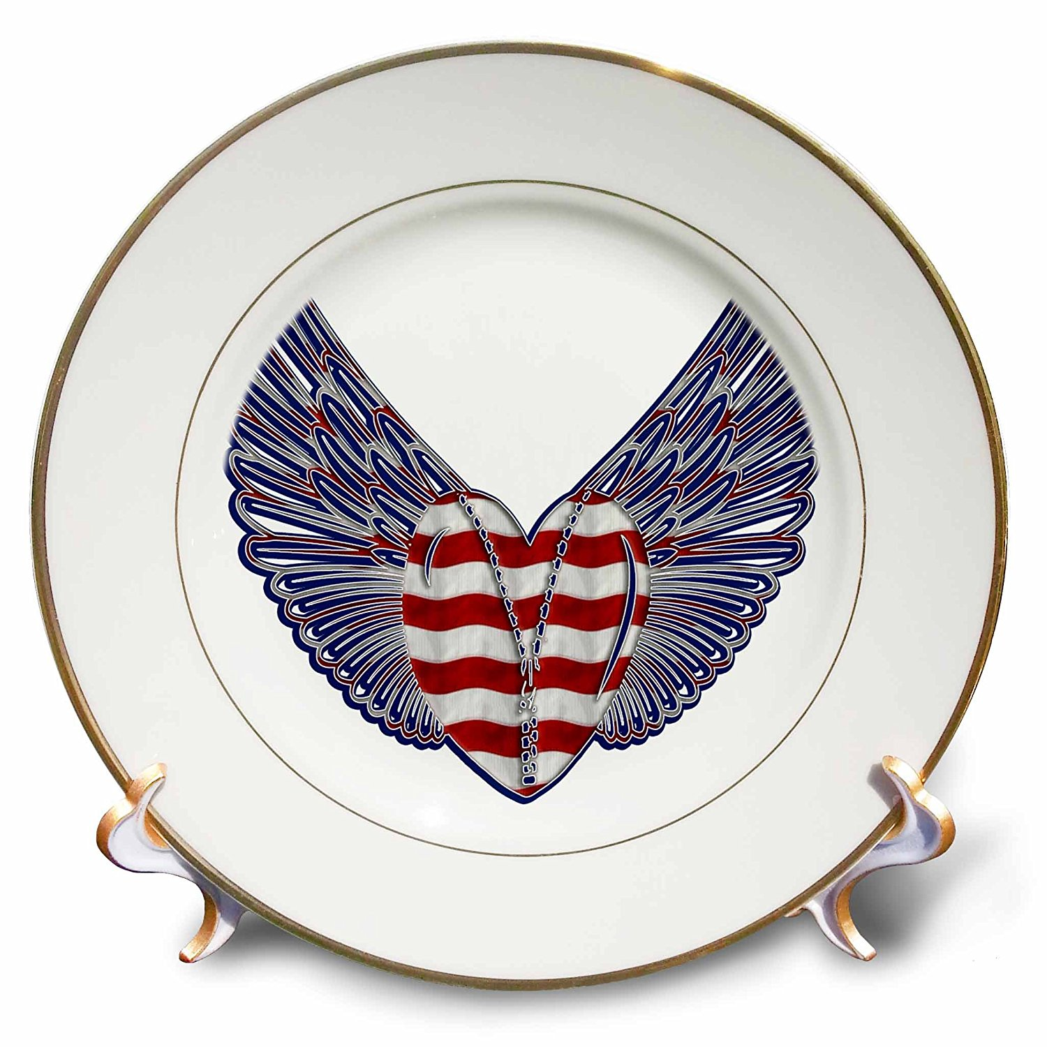 Anne Marie Baugh - Hearts - A Red and White Stripped Heart With A Zipper And Blue and Red Wings - 8 inch Porcelain Plate (cp_235928_1)