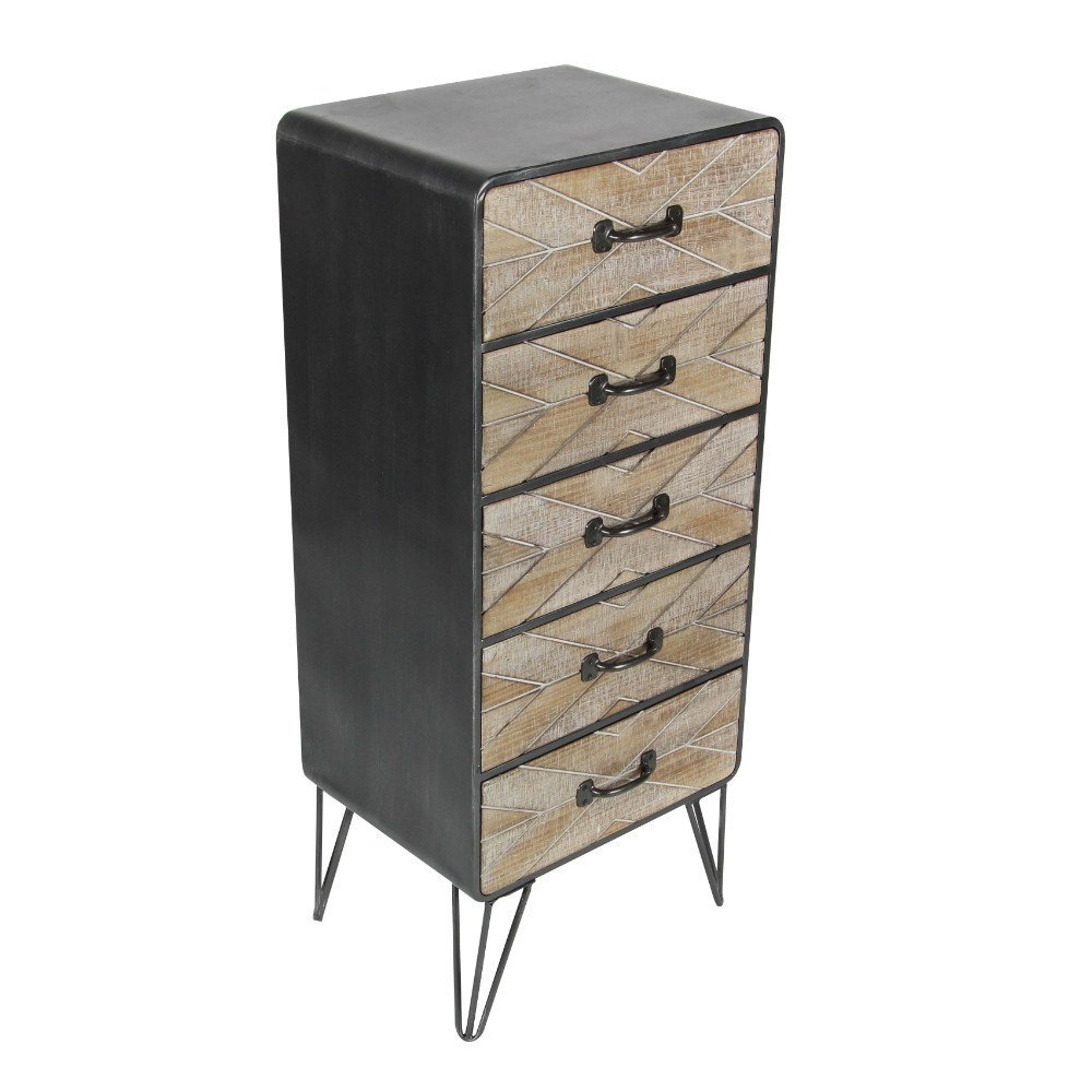 Benzara Metal Chests Bm119408 Benzara Country Style 5 Drawer Metal Wood Chest 16 X 39 X 12 Inches White