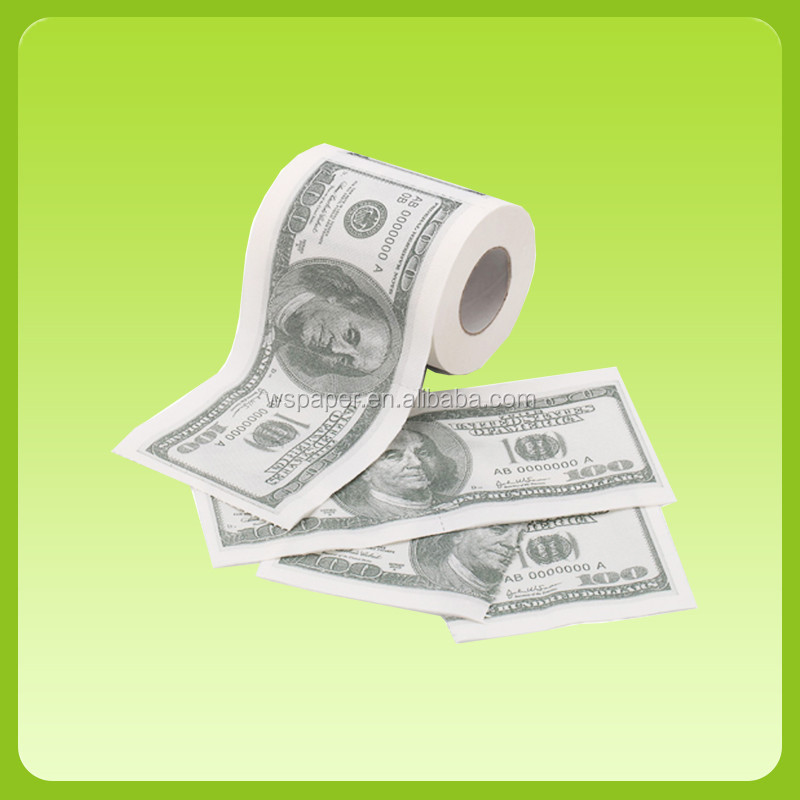 Money Printed Toilet Paper Novelty Design Custom Printed Toilet Paper USD Color Toilet Paper