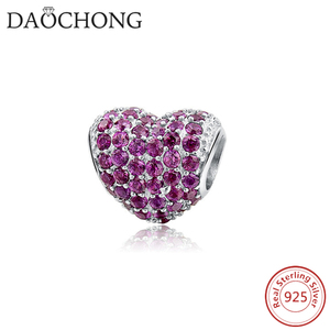 925 Sterling Silver DIY Heart Shape Beads Pink Zircon Charms