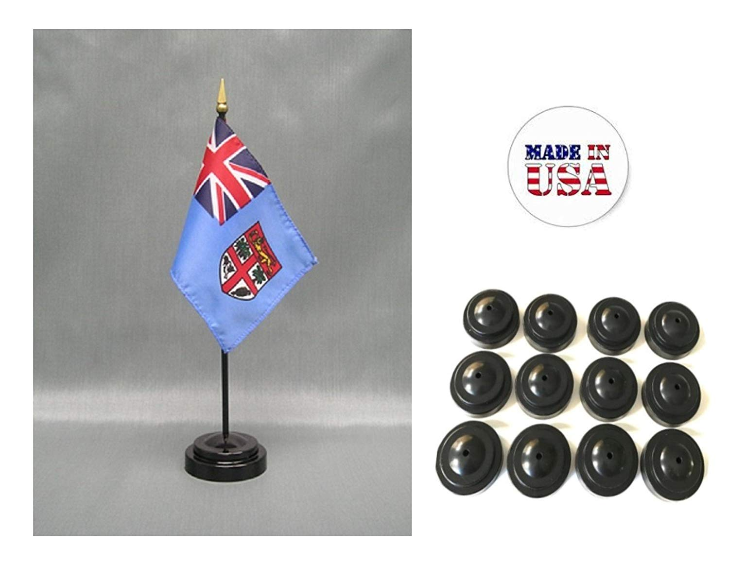 "Made in the USA!! Box of 12 Fiji 4""x6"" Miniature Desk & Table Flags Includes 12 Flag Stands & 12 Fijian Small Mini Stick Flags"