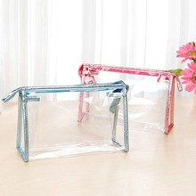 New design cosmetic packing soft clear top zipper PVC bag