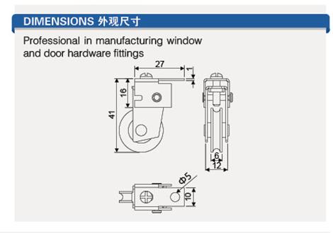 W-100A Nylon roller bearing wheel for sliding window door