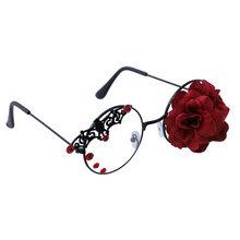 Панк летучая мышь очки с розами оправа глаз Стекло es Темный Ретро паровой Готический очки женские прозрачные ручной работы винтажные кругл...(Китай)