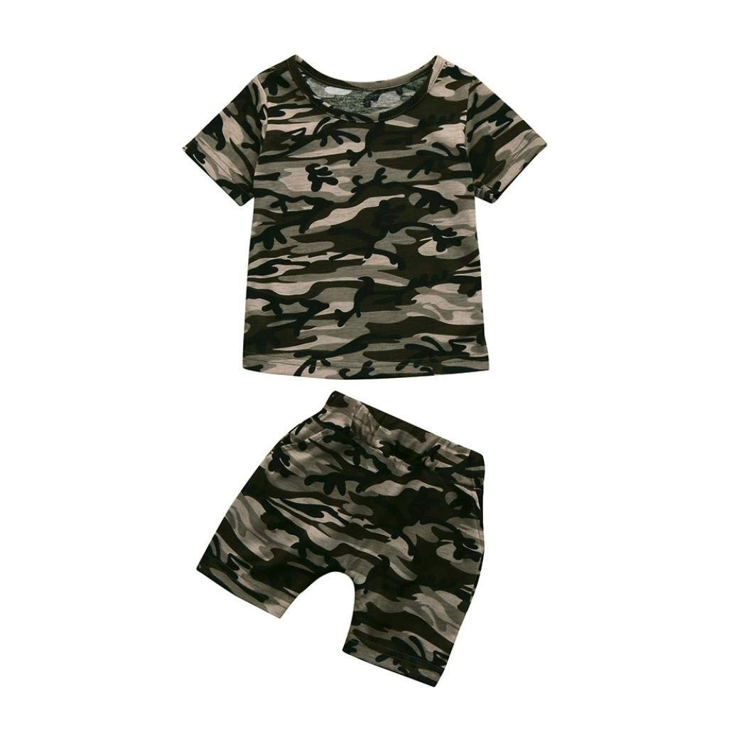1abc7b9573c Get Quotations · 2pcs Toddler Kids Baby Boys Clothes Sets Infant Baby Summer  Shortsleeve Camouflage T shirt Tops+