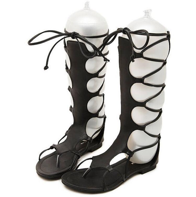 Botas altas por la rodilla de tacón bajo en negro Candy de
