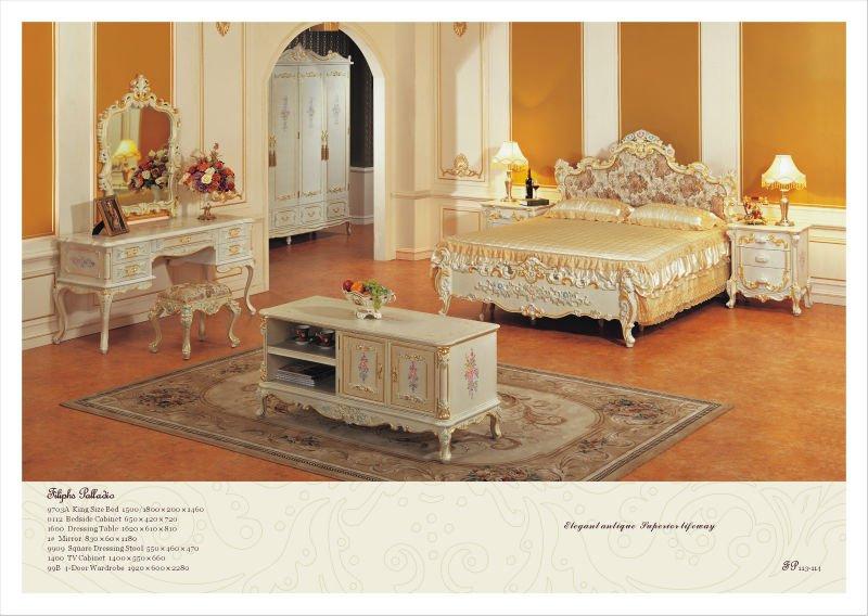 Fp классическая мебель для спальни из массива дерева ручной работы
