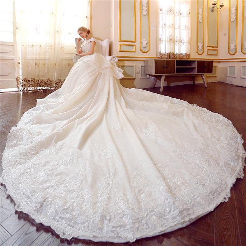 New Style Beauty Bridal Princess Wedding Dress With Long Train Buy High Quality Wedding Dress Wedding Dress Long Trail Wedding Dress Product On