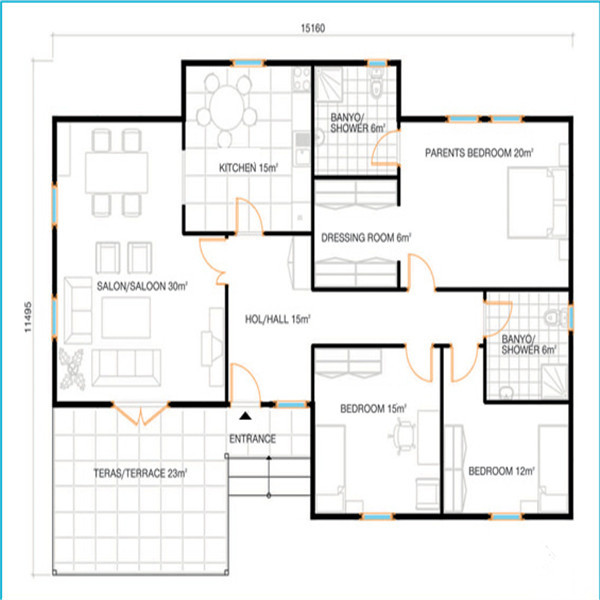 Sophisticated 150 square meter house plan contemporary for 57 square meters to feet